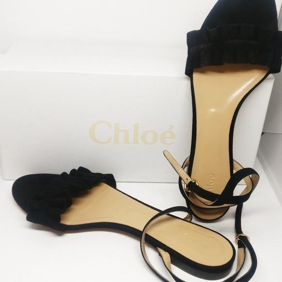 7072d7cf89b49 Chloe Flat Black Suede Ruffle Sandals Ankle Strap